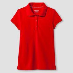 Girls' Pique Polo Shirt - Cat & Jack, Girl's, Size: Medium, Red