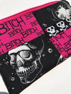 Bitch Patchwork Zipper Pouch: Astral Skulls, Punk, Pink and Black.