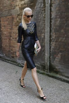 Stunning embellished leather dress - Street Style at LFW S'14. Photo by Anthea Simms.