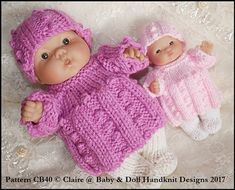 Angel Top & Tights Set for 5 & 8 inch Chubby Berenguer dolls Baby Doll Clothes, Doll Clothes Patterns, Baby Dolls, Clothing Patterns, Animal Knitting Patterns, Knitting Designs, Knitting Yarn, Hand Knitting, 4 Ply Yarn