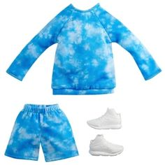 Barbie Fashionista Dolls, Barbie Dolls, Doll Toys, Matching Top And Shorts, Blue Tie Dye Shirt, Jumper Shorts, Walmart, Barbie Doll Accessories, Clothing Accessories