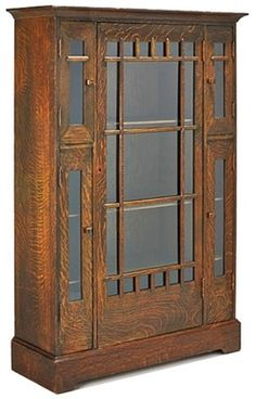 Arts & Crafts, Shop of the Crafters, Flared Cornice, 5 Glazed Doors, Plinth Base. Arts And Crafts House, Mission Furniture, Furniture Decor, Arts And Crafts Furniture, Sand Crafts, Craftsman Style, Mission Style Furniture, Craftsman Style Furniture, Craftsman House