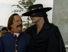 Duncan Regehr as Zorro and James Victor as Sgt Mendoza in New World Zorro.