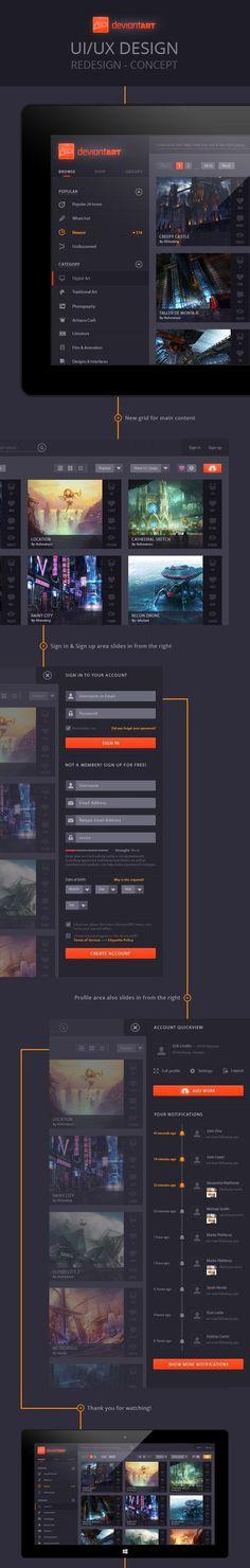 deviantART – Concept / dark design / dark website / dark web design / UI UX / black and orange. If you like UX, design, or design thinking, check out theuxblog.com: