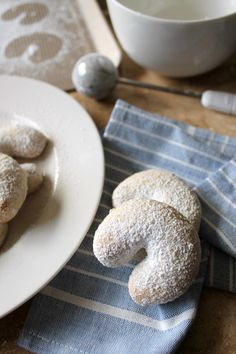 Lightly sweet and crisp almond-scented cookies dusted with powdered sugar. An elegant classic. Best Dessert Recipes, Desserts, Cookie Recipes, Crescent Cookies, Dorie Greenspan, Cookie Tray, Baking Set, Cookies For Kids, Chocolate Filling