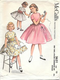 1950's Girls' Dress, Cummerbund and Petticoat Sewing Pattern McCall's 3631, offered on Etsy by GrandmaMadeWithLove