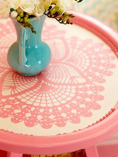 Use a doily as a stencil.