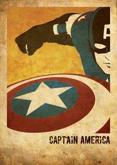 Captain America The Avengers inspired vintage movie by FlickGeek