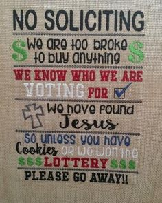 No Soliciting – 3 sizes included – 5 x 7, 6 x 10 and 8 x 12 – DIGITAL Embroidery Design – Nana's Handmade Baby Boutique