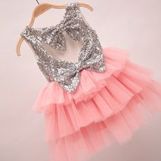 """The """"Gigi"""" Shimmer Silver Sequin Bow Baby Toddler Dress - Medium Pink - Angora Boutique - 1 Baby Outfits, Toddler Outfits, Kids Outfits, Baby Dresses, Cheap Dresses, Little Girl Fashion, Kids Fashion, Toddler Dress, Toddler Girl"""