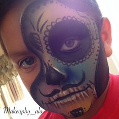Dia de los Muertos makeup boys #sugarskull by @makeupby_alo