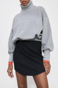 PINSTRIPE MINI SKIRT | ZARA Spain Mini Skirts, Turtle Neck, Sweaters, Zara Spain, Closure, Shoes, Products, Fashion, Moda