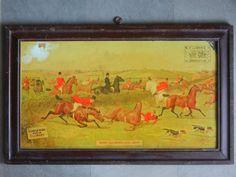 Rare Vintage ELLIMAN'S Embrocation Framed Litho Print Ad Tin Sign Board