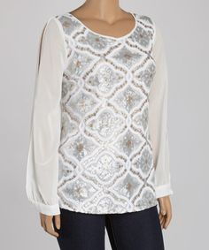 Look what I found on #zulily! Ivory Sequin Sheer-Sleeve Top - Plus by Marineblu #zulilyfinds