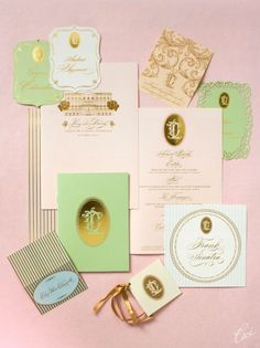 """Pale Pink & Mint Green Ceci Weddings Invitations - colors that are very """"in"""" this season.. love the gold emboss"""