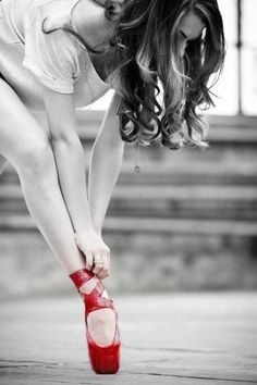 Portrait - Red - Ballet Shoes - Slippers - Black and White - Dance - Legs - Editorial - Photography - Pose