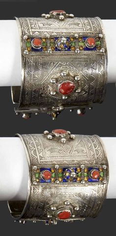 Algeria - Grand Kabylie | Pair of anklets from the Beni Yenni people; silver, enamel and coral. | Sold (May '15)