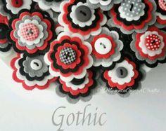 ZOO x3 Handmade Layered Felt Flower Button Embellishments