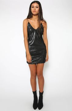 Toby Heart Ginger | Angel Sequin Mini Dress - Black | Clothes | Peppermayo