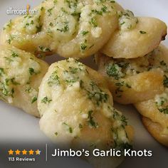 "Jimbo's Garlic Knots | ""Holy smokes! Family gobbled these little boogers up. My 8 year old actually said, ""Please pass the knots of glory."" I did use butter instead of olive oil, and used dried parsley, as I didn't have fresh on hand. Nom nom nom."""