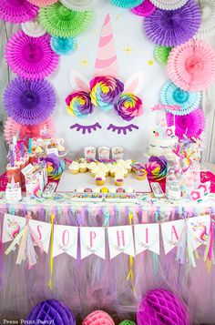 UNICORN DIY: Truly Magical Unicorn Birthday Party Decorations DIY - By Press  Print Party! Giant Unicorn horn Click to learn how to make this unicorn  horn and flowers with party printables and paper flower template. Great  unicorn background for a  unicorn birthday party dessert table or  photobooth.