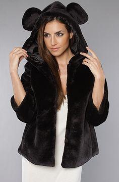 The Mickey Ear Coat in Black Vegan Fur : Sauce : Karmaloop.com - Global Concrete Culture - StyleSays