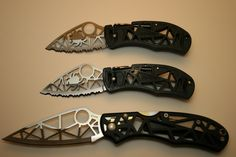 Three rare Spiderco knives. My Dad bought me one of these (middle one) Sadly, they no longer make them.