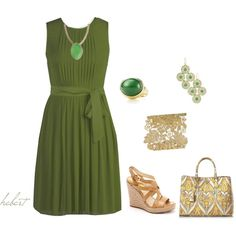 A great green spring / summer dress, created by staciegh on Polyvore featuring the Stella & Dot - Chantilly Lace Cuff