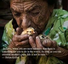 """3. Reason to Believe ~ """"Believe, when you are most unhappy, that there is something for you to do in the world. So long as you can sweeten another's pain, life is not in vain.""""  ~ Helen Keller"""