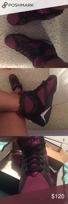 AIR JORDAN 7's , RETRO GG BLACK,GREY,PURPLE .. NEVER WORN OUTSIDE ( BRAND NEW ) Jordan Shoes Sneakers