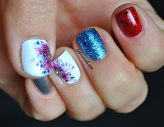 4th of July Nails, love the red, white, silver and blue- with colorful fireworks on the white!