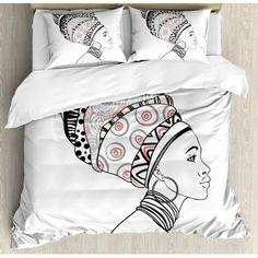 Ambesonne Afro Exotic Safari Lady in Boho Turban Glamour Authentic Folkloric Fashion Design Duvet Set Size: