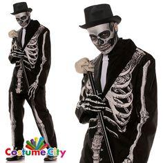 Adult Mens Bone Daddy Skeleton Suit Halloween Fancy Dress Party Costume