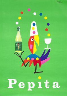 Leupin, Herbert vintage ad poster: Pepita (juggling parrot)