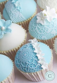 Something Blue Cupcakes by Chelsea Cake Company. lovely lace cupcakes, perfect for baby showers or bridal parties! xx