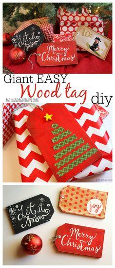 giant wood tag diy for christmas--really easy!