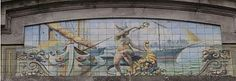 Mural representation of Hermes-Mercury in an early XX century modernist building in Vigo (Galicia, Spain).