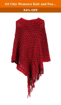 G2 Chic Women's Knit and Faux Fur Poncho Sweaters with Fringe Cape(OW-JKT,WIN-OS). Poncho. Faux Fur. Knit. Fringe Trim. This poncho is perfect for the cooler seasons! The fringe trim is a fun design element that adds movement. This poncho looks great layered over a long sleeve top, jeans, and boots for a cute Fall look. The combina.