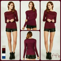 Perfect Everyday Top A cool and basic long sleeve crew neck knit top.  Beige - S, M, L Wine - S Black - S, M White - S, M Royal Blue - S, M, L @Prim&Prissy  Tops Tees - Long Sleeve