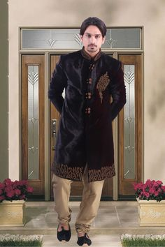 Navy #blue #velvet indo western #sherwani in chuddi bottom-IW075