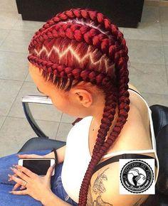 Red Cornrow Braids
