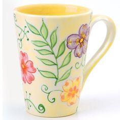 Flower Tapestry Mug SKU: 965606 Price: $12.00 12 ounce, hand-painted earthenware food/dishwasher/microwave safe.