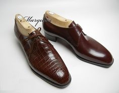 - LEFT - Style : 2 Eyelet Derby Toe Shape : Marquess Round Leather : Brown Crocodile Bottom : Hand Sewn Welted -Beveled Waist-