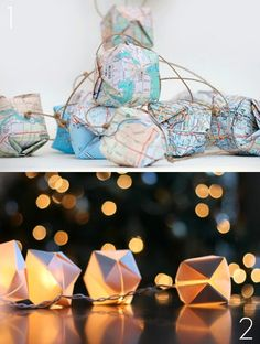 <3 | fairy lights with origami paper globes! so cute!