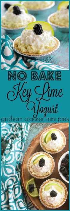 No Bake Key Lime Yogurt Graham Cracker Pies | www.homeandplate.com | Keep dessert simple too by mixing together Greek yogurt and cream cheese with your favorite fruits or add-ins for an easy dessert that's great for any occasion. #ad #EffortlessPies