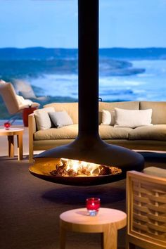 A beachside modern fire pit at Southern Ocean Lodge Australia