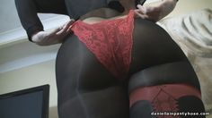 My sexy arse ass butt bottom in black seamed pantyhose tights with thick red seams and garters detail under red lace panty panties.
