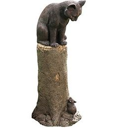 Plow & Hearth Cat and Mouse Outdoor Garden Decor, Weatherproof Resin, Bronze-Colored Finish, 10 in L x 11 1/2 in W x 23 in H