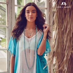 Convertible turquoise beads and 3 in 1 convertible necklace, tassel charm. Chloe + Isabel by One Stylish Mama. Perfect summer looK!
