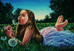 """""""Dandelion Clocks"""" by artist Hillary Scott. This New England painter celebrates the moments of childhood in her charming portfolio. See more of her work at www.ArtsyShark.com"""